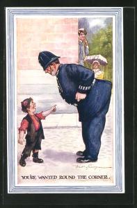 Künstler-AK Fred Spurgin: Junge macht den Polizisten auf die Nanny mit dem Kind hinter dem Haus aufmerksam