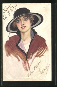 Künstler-AK Leopoldo Metlicovitz: Lächelnde Dame mit schwarzem Hut