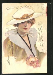 Künstler-AK Leopoldo Metlicovitz: Elegante Dame mit Hut und Perlenkette