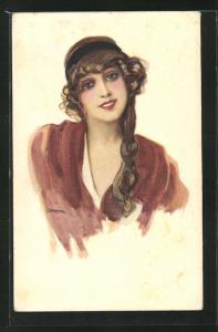 Künstler-AK Leopoldo Metlicovitz: Bildnis einer lächelnden jungen Frau mit langem Zopf