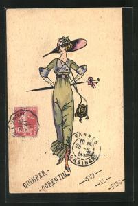 Künstler-AK Charles Naillod: Elegante Dame mit Hut, Tasche und Schirm auf einem Spaziergang