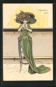 Künstler-AK Charles Naillod: Dame mit grossem Hut sitzt mit ihrem Getränk auf einem Barhocker