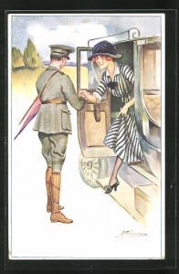 Künstler-AK Suzanne Meunier: Histoire d`un flirt, Soldat in Uniform und Dame flirten
