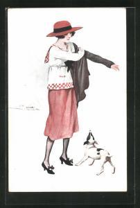 Künstler-AK Suzanne Meunier: Paris, Dame mit Hund zieht eine Jacke an