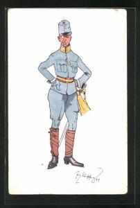 Künstler-AK Fritz Schönpflug: Soldat in Uniform mit Zigarette