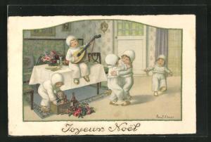 Künstler-AK Pauli Ebner: Kinder tanzen und musizieren, Weihnachtsgruss
