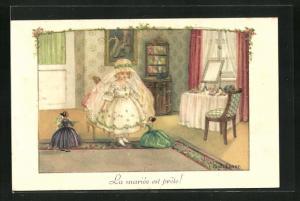 Künstler-AK Pauli Ebner: La mariee est prete, Kleine Braut mit Puppen