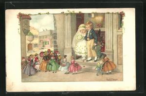 Künstler-AK Pauli Ebner: Hochzeitspaar und Puppen