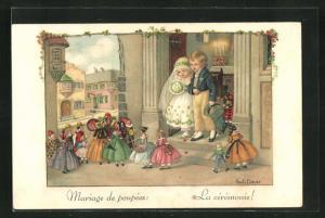 Künstler-AK Pauli Ebner: Mariage de poupees: La ceremonie!, Hochzeitspaar mit Puppen