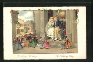 Künstler-AK Pauli Ebner: The Doll`s Wedding, The Wedding Day, Hochzeitspaar mit Puppen
