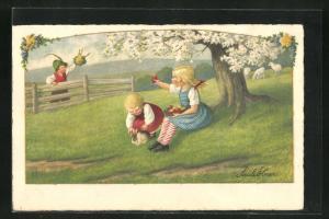 Künstler-AK Pauli Ebner: Junge winkt Mädchen mit Osterei unter einem Baum zu