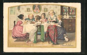 Künstler-AK Pauli Ebner: Mädchen sitzen am Kaffeetisch