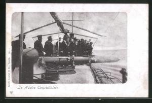 AK Le Nostre Torpediniere, Abschuss eines Torpedos an Bord eines italienischen Kriegsschiffes