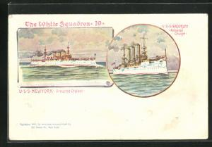 AK The White Squadron 10, USS Brookly and USS Newport, Armoured Cruiser