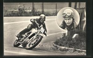 AK Motorradrennfahrer Kurt Mansfeld auf 500er Auto Uniopn-DKW
