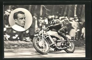 AK Karel Dodmer auf 500er Auto Union-DKW, Motorradrennfahrer