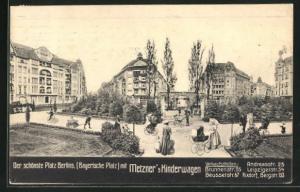 AK Berlin-Schöneberg, Bayerischer Platz mit Metzner`s Kinderwagen, Werbung