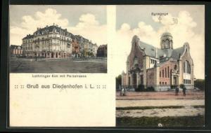 AK Diedenhofen i. L., Synagoge, Lothringer Eck mit Parkstrasse