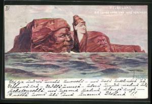 Künstler-AK Fritz Hass: Helgoland, Die lange Anna und ihre Verehrer, Killinger Nr. 158, Berg mit Gesicht / Berggesichter