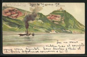 Lithographie Killinger Nr. 145, Der lustige Bruder vom Kahlenberg, Leopoldsberg, Berg mit Gesicht / Berggesichter