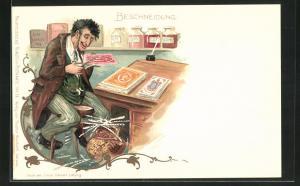 Lithographie Beschneidung, Jude beschneidet Briefmarken