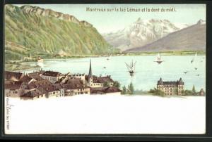 Lithographie Montreux, sur le Lac Léman et la dent du midi, Künzli Nr. 5019, Berg mit Gesicht / Berggesichter