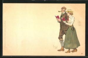Künstler-Lithographie Edward Cucuel: älterer Herr und junge Dame mit Büchern