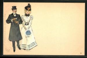 Künstler-AK Edward Cucuel: Betuchtes Paar in eleganter Kleidung