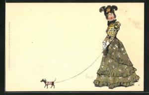 Künstler-AK Edward Cucuel: Dame in eleganter Kleidung führt ihr Hündchen Gassi