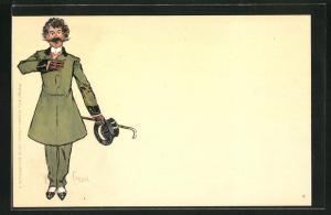 Künstler-AK Edward Cucuel: Eleganter Herr wirft sich in Positur
