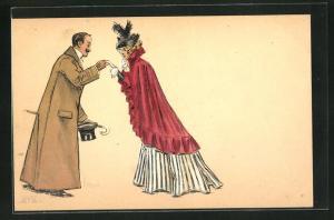Künstler-AK Edward Cucuel: Eleganter Herr setzt zum Handkuss an