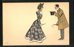 Künstler-AK Edward Cucuel: Eleganter Herr zieht grüssend den Zylinderhut vor einer Dame