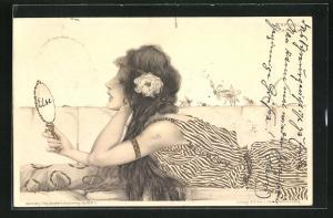 Künstler-AK Raphael Kirchner: Schöne Junge Frau betrachtet ihr Antlitz im Handspiegel
