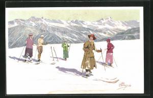 Künstler-AK Carlo Pellegrini: Männer und Frauen beim Skifahren