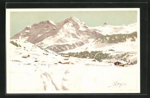 Künstler-AK Carlo Pellegrini: Winterlandschaft in den Bergen