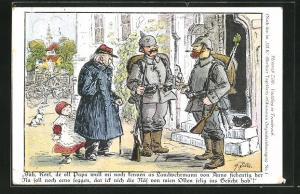 Künstler-AK Heinrich Zille: Soldaten im Gespräch vor einem Haus