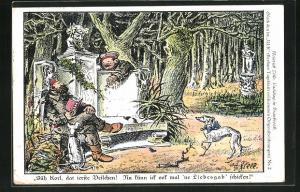 Künstler-AK Heinrich Zille: Soldat pflückt ein Veilchen im Wald