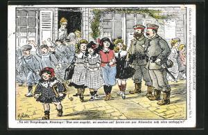 Künstler-AK Heinrich Zille: Soldaten beobachten die Mädchen, die aus der Schule kommen