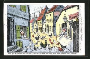 Künstler-AK Heinrich Zille: Soldaten füttern die Hühner auf der Strasse