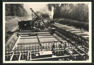 AK Strassenbau, Vom Bau der Reichsautobahnen, Strassenfertiger tritt in Tätigkeit