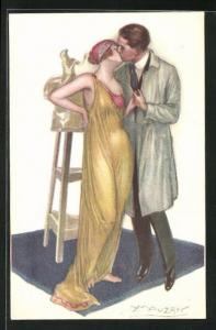 Künstler-AK Mauzan: Mann in Arbeitskittel küsst Frau in gelben Kleid vor Statue