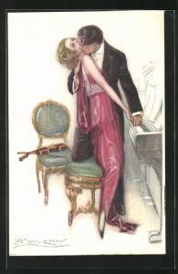 Künstler-AK Mauzan: Mann in Anzug küsst Frau in rotem Kleid leidenschaftlich am Klavier