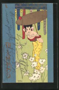 Künstler-AK Raphael Kirchner: Mikado, chinesische Dame in gelben Kleid mit goldfarbenen Sonnenschirm