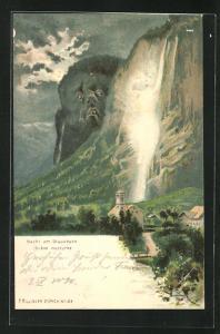 Künstler-AK Killinger Nr. 124: Nacht am Staubbach, Schöne Frau in der Gischt, Berg mit Gesicht / Berggesichter