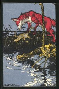 Künstler-AK Rolf Winkler: Fuchs mit erbeutetem Vogel am Wasser