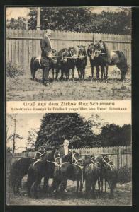 AK Zirkus Max Schumann, Ernst Schumann mit Schottischen Ponnys