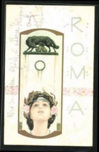 Künstler-AK Raphael Kirchner: Roma, Frau mit Siegeslorbeer, Romulus und Remus werden von der Wölfin gesäugt