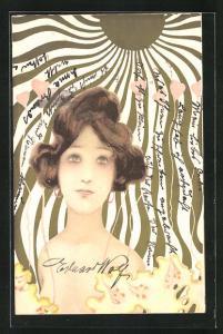 Künstler-AK Raphael Kirchner: Schöne Frau im goldenen Sonnenlicht und aufsteigende Herzen