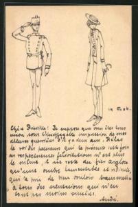 Künstler-AK Handgemalt: Soldat in Uniform steht stramm, Unsicherer Dandy