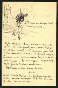 Künstler-AK Handgemalt: Soldat in Uniform marschiert im Regen